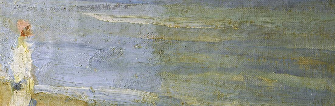 Detail eines Gemäldes während der Reinigung